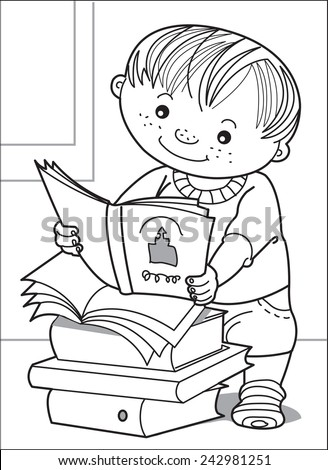 The kid reads. Little boy looks with interest the open book. Next to them are thick books. Coloring page
