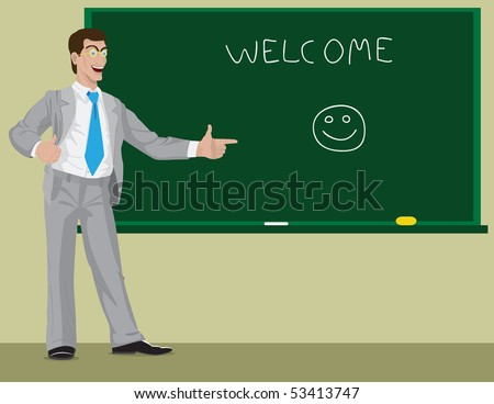 The kind teacher welcomes students