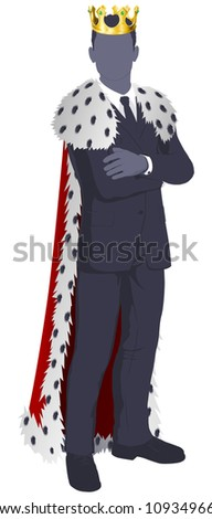 The king of business conceptual illustration. Businessman dressed as a king.