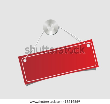 The label dangling on a nail. Vector illustration. - stock vector