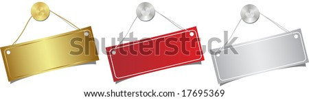 The label dangling on a nail. Vector illustration.