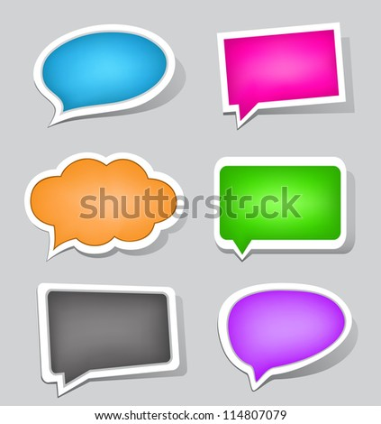 The labels set suitable to use for speak or display different text messages - stock vector