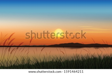 the lake scenery at twilight