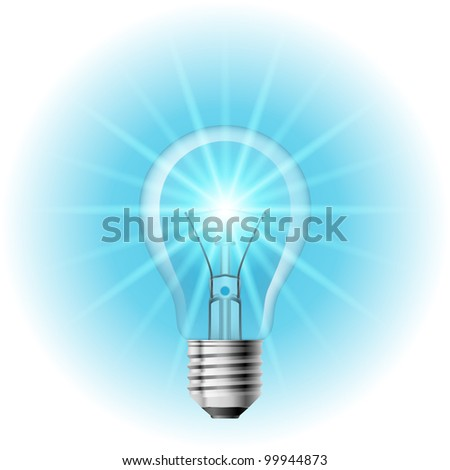 The lamp with the blue light. Illustration on white background for design