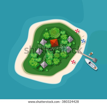 Stock Photo The landscape for recreation. Top view of the island paradise  from helicopter seascapes.  isle for vacation. Maritime hotel for relaxation. Travel & Leisure. Marine map with cities