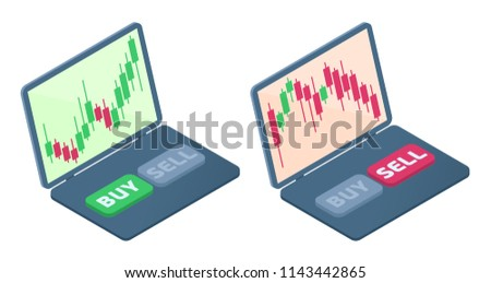 The laptop with stock quote candlestick charts on the screen. The falling and increasing of shares graphs. The broker's laptop, selling, buying buttons. Business flat isometric concept illustration.