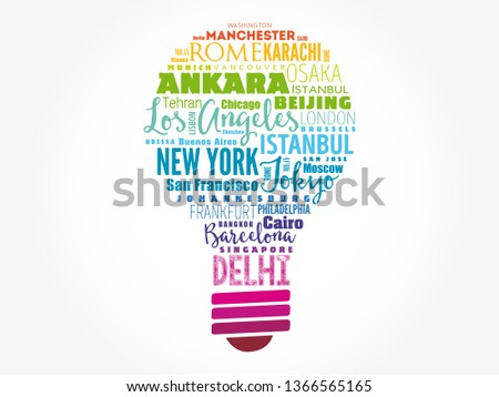 The largest cities in the world light bulb word cloud, travel destinations concept background
