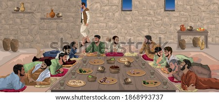 The Last Supper - Jesus celebrates Passover with His disciples Stock photo ©
