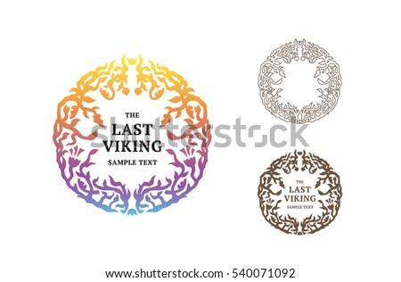 The last Viking is a vector logotype template with floral elements for cosmetic, fashion winery or jewelry company. Elegant illustration of botanic pattern.