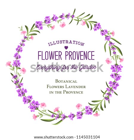 The lavender circle frame of flowers and text. Lavender wreath for your text presentation. Label of perfume package. Vector illustration. #1145031104