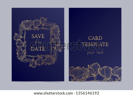 The layout of the wedding invitation with gold flowers