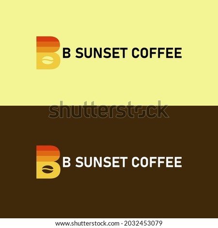 THE LETTER B LOGO IN COMPLEX WITH THE COFFEE AND SUNSET ICON Foto stock ©