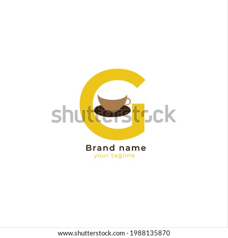 The letter G logo with cups or glasses is used for brand logos, cafes and restaurants Photo stock ©