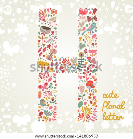 the letter h bright floral
