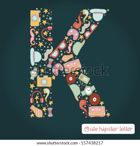 the letter k bright hipster