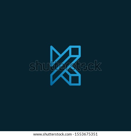 the letter K in line art style, forming an optical illusion that is creative and elegant. editable and easy to custom Stock fotó ©