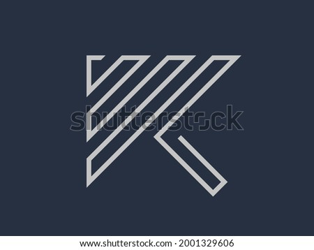 The letter K which is abstractly formed by thin curved lines. A symbol that also forms an arrow. Unique logo suitable for financial company, business consulting, personal brand, etc. Stock fotó ©