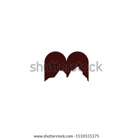 the letter M which has a negative part that forms a mountain. negative space logo