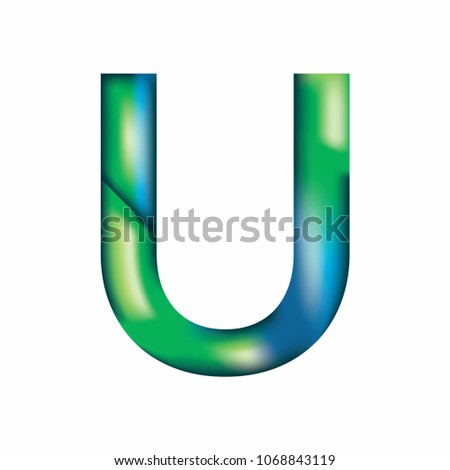 the letter u is in blue green