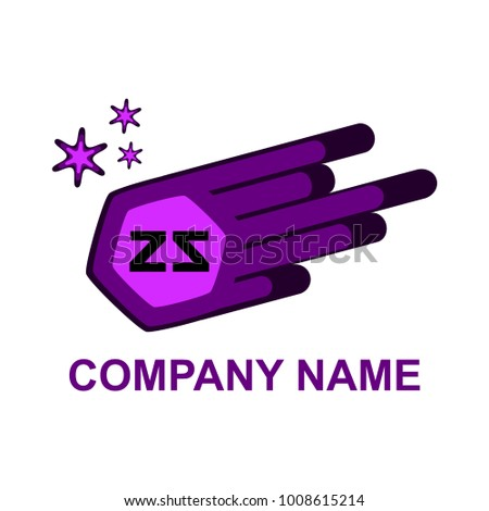 The letters ZZ are wrapped to each other against the background of the comet. Creative logo. Vector illustration