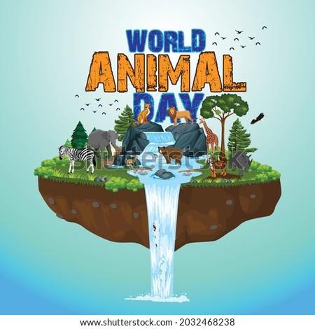 The life cycle of animals. World Animal Day, Wildlife concept, Environment day, World Habitat wildlife day, World day of endangered species, World Forest and biodiversity.