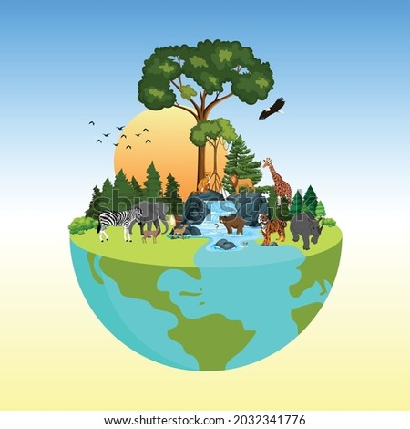 The life cycle of forest animals. world wildlife by Animal on earth, wildlife concept, environment day, World Habitat  wildlife day, world day of endangered species, world Forest and biodiversity.