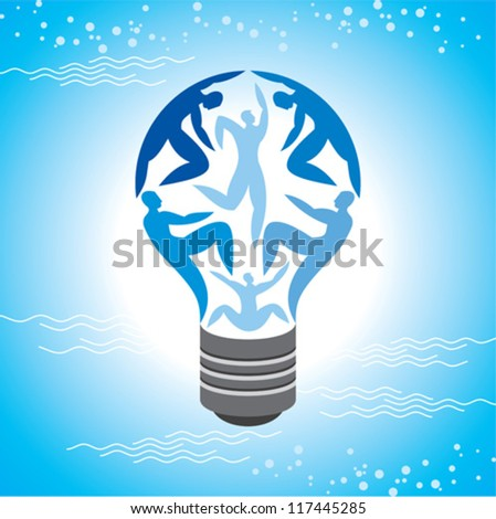 The Light Bulb For Job and Business Concept in Blue Sky Background
