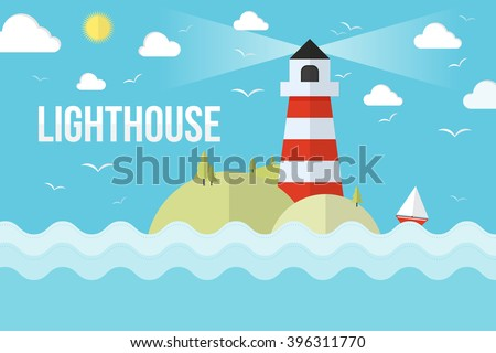The lighthouse on island with trees and clouds. Flat design style vector illustration.
