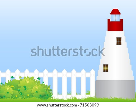 The lighthouse stands on a green meadow with white fence