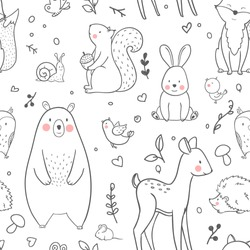 The linear vector baby cute pattern, forest animals