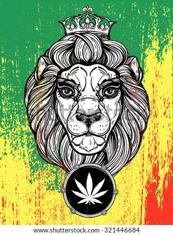 the lion of judah head  reggae