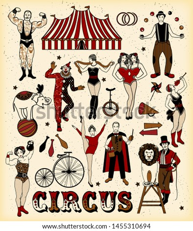 The Lion Tamer, The Clown, The Circus Strong Woman, The Circus Magician, The Circus Fire Eater, The Gymnast Girl, The Snake Lady, The Juggler, The Elephant,The Strong Man, The Siamese Twins. Vector.