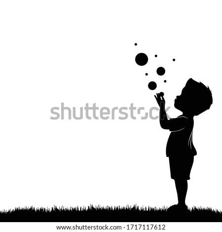 the little boy blew silhouette bubbles