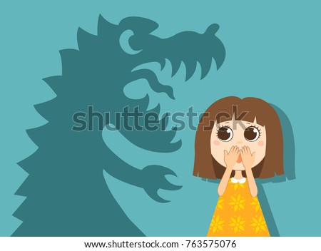 The little girl and her fear. Vector simple illustration.