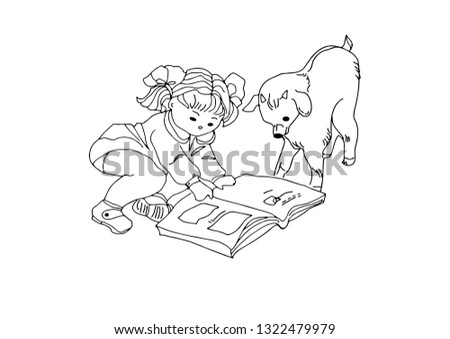 The little girl and the little goat consider the pictures in the children's book. For coloring in the vector program.Outline drawing. The background texture is light gray. Vector image.