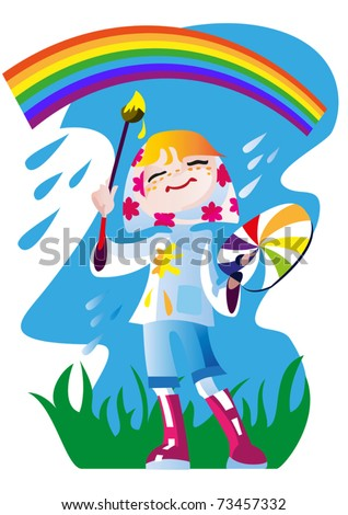 The little girl -  artist in a bright warm clothing draws a  rainbow in the sky