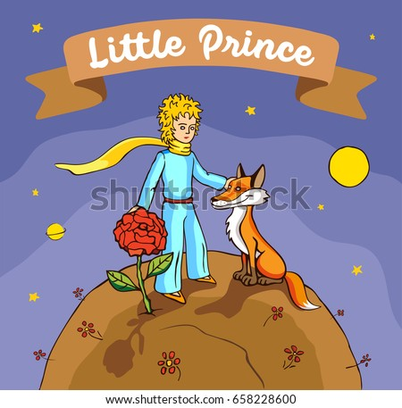 The little prince with his rose and fox