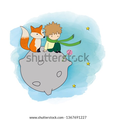 The little prince with his rose and fox - Vector