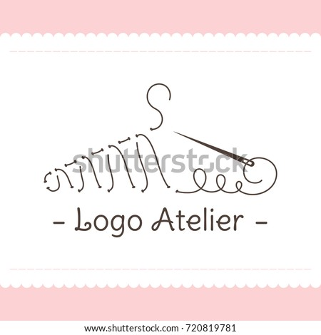 Shutterstock The logo Atelier. Vector template for the fashion industry. Element for Studio sewing and tailoring. Illustration in modern style