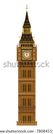 The London landmark the Big Ben Clock-tower isolated on a white background