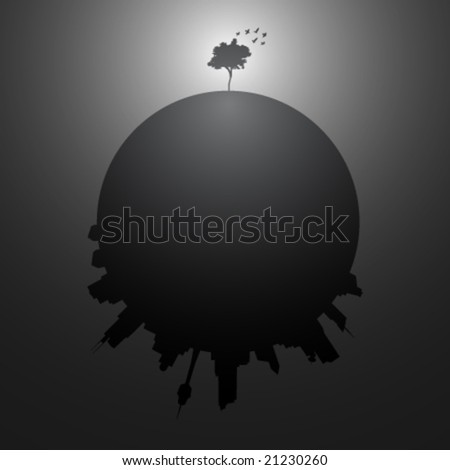 The lonely tree - vector illustration