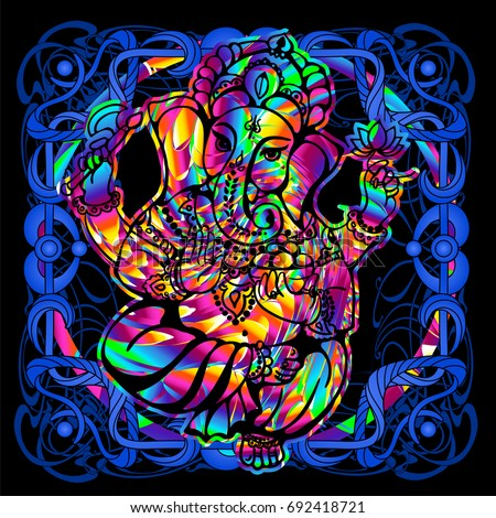 The Lord Ganesha is a psychedelic painting in a retro style. Popular vintage graphics postcard and posters from the 1960s to the 1980s. Art Nouveau and Hippie art. Goa trance art. Design of T-shirts