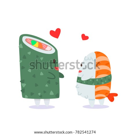 The love of Sushi and Sushi roll, Abstract picture of love about Japanese food, Flat vector cute style of japan food, Shrimp sushi and Sushi roll on white background, Colorful illustration stylized