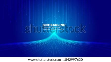 The luminous line that radiates upward, Internet science and technology big data background