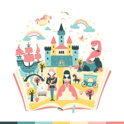 The magic book is a fairy tale. The story of the princess and the prince. The magic kingdom. Vector illustration in simple hand-drawn Scandinavian style.