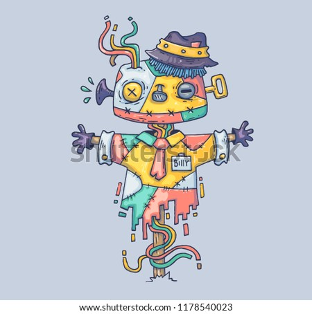 The magic scarecrow in the hat. Cartoon illustration for print and web. Character in the modern graphic style. Trendy style.