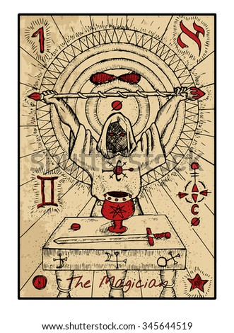 Stock Photo The magician. The major arcana tarot card in color, vintage hand drawn engraved illustration with mystic symbols. Man wearing mantle and holding magic wand. Sword, cup and coin on the table.