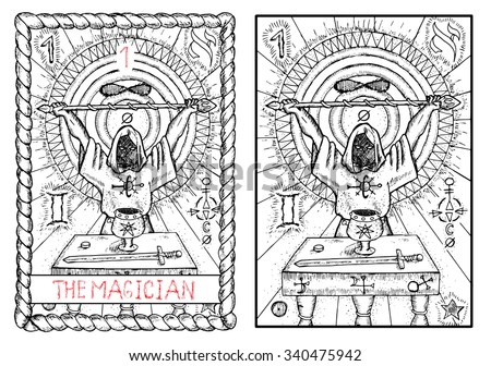 Stock Photo The magician. The major arcana tarot card, vintage hand drawn engraved illustration with mystic symbols. Man wearing mantle and holding magic wand. Sword, cup and coin on the table.