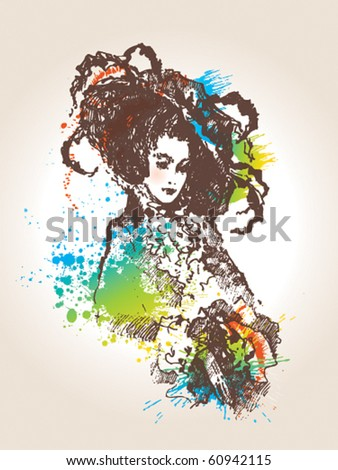 The magnificent lady in eighteenth century clothes in a huge hat with feathers on her head. A sketch made by a pen with colorful spots and sprays on a beige background. Vector illustration.
