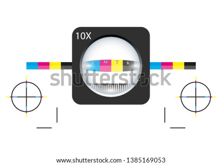 The magnifying glass standing on a leaf of the test print. Print loupe on offset printed sheet with basic colors control bars. Calibration printing marks. Vector illustration on a white background.